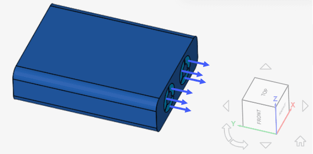 flow direction for simulation in electronics cooling application simscale