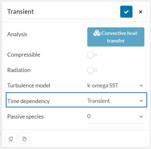 thus picture shows how to set transient time dependency on a turbulent convective heat transfer analysis type