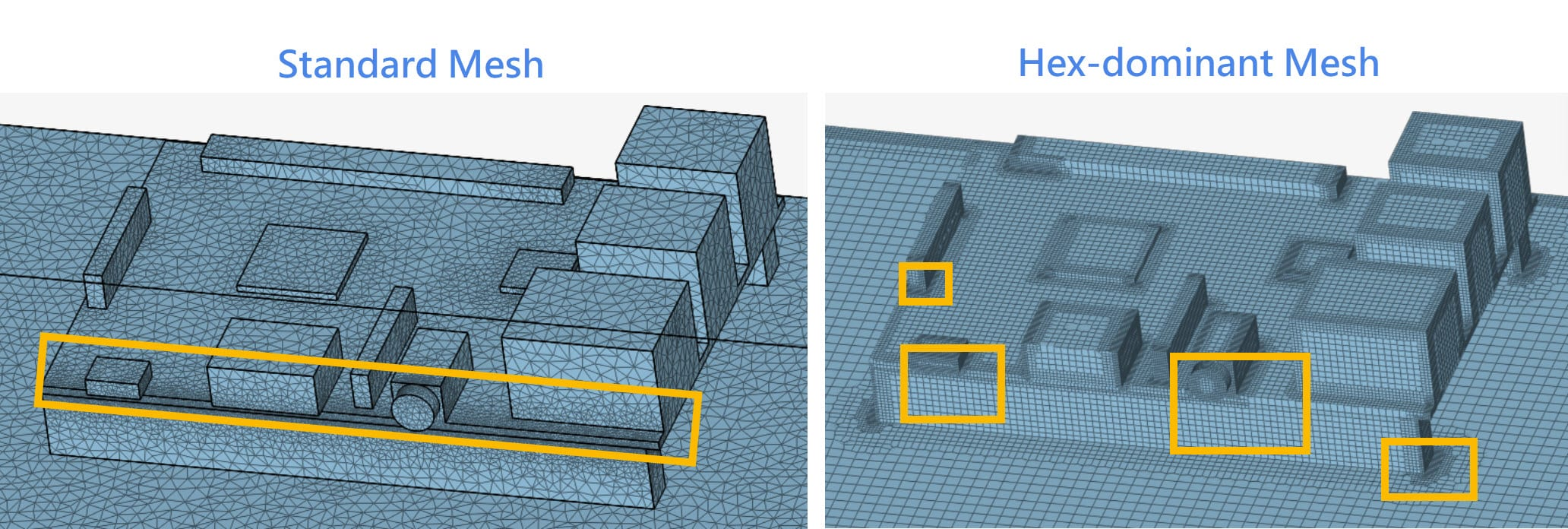 this picture compares how automatic meshing algorithms generate small elements to capture models every detail, which is not ideal to be used in transient convective heat transfer analysis