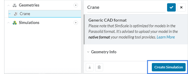 geometry dialog box and navigation tree of simscale with create simulation button in geometry dialog box and the plus sign beside simulation are highlighted to show the first step in simulation setup