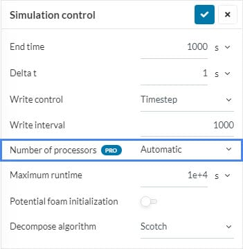 simulation control settings to show users how to assign number of cores to manage core hours